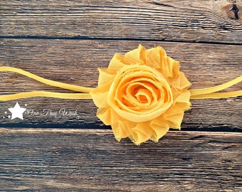 Yellow gold shabby flower elastic headband, frayed flower baby elastic headband, baby headband, infant headband, newborn headband, baby gift