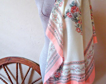 Vintage Scarf Salmon Cream Floral Scarf Fashion  Scraves   D19