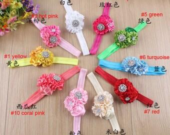 Set of 10 baby headbands, girl hair headband  - satin ribbon flower hair bands - baby stretchy headband - girl headband-10 colors to choose