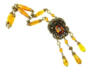 Czech Glass Necklace, Bead, Amber Glass Necklace, Antique Jewelry, Art Deco Jewelry, Glass Beads, Festoon