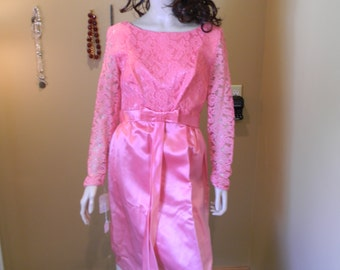 Mad Men Dress .Sateen 1960S Hot Pink Fuschia Gown. Original old stock .Liquid Satin .Illusion Lace. Wedding.prom. Cocktail Gown.