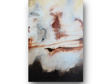 Stretched Painting on Canvas, Abstract Painting, Minimalist, Rustic and Distressed Painting, Original Painting, Brown, 36x24 by Heather Day