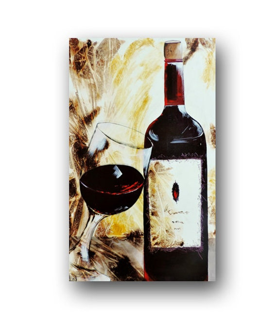 Purple Bowls Wine Bottels Modern Canvas Painting Wall Art: Red Wine Painting Abstract PaintingWine Art Wine Glasses