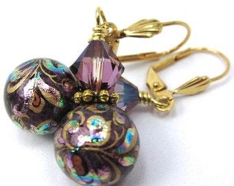 Purple Peacock Flower Japanese Tensha and Swarovski Crystal Earrings