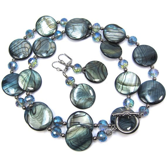 Blue Swirl Shell and Czech Crystal Necklace and Earring Set, Gunmetal