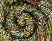55/45 sw bfl silk yarn LOTR LOTHLORIEN hand dyed fingering weight 3.5oz 435 yards