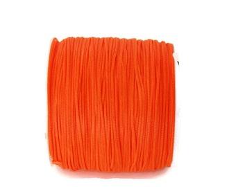 Neon Orange Waxed Polyester Cord, Neon Orange Cord, Neon Polyester Thread (0.8mm) 10m - 11yards S 40 006