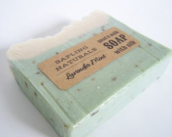 Lavender & Mint all natural Goat's Milk Soap with silk