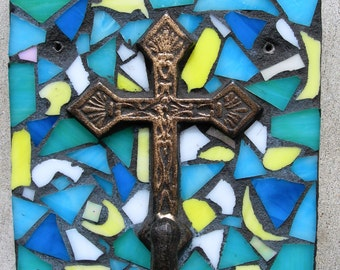 Cross Mosaic Stained Glass Wall Hook Coat Rack Hanger