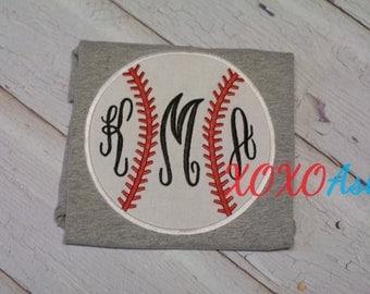 Sister Monogram-- Applique Baseball Shirt or bodysuit- Baseball Sister Shirt- Baby Girl bodysuit-