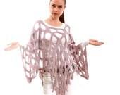Hand Knitted Summer Poncho Sweater Linen, Boho, The Mermaid Net by Solandia, dusty pink, geometric, novelty, women boho, modern sweater