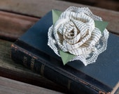 Book Page Rose Pin Corsage with Lace and Pearls