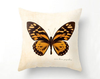 Orange Butterfly Pillow, Butterfly Home Decor, butterflies, throw pillow, fine art photography, mon beau papillon, spring decor, home decor