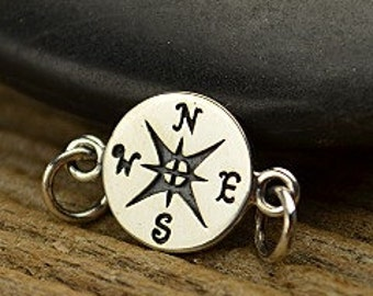 Compass -  Sterling Silver Compass Link - Connector Charms, Links, Ocean, Navy Charms, Nautical, Wave, True North, Directional, Ships