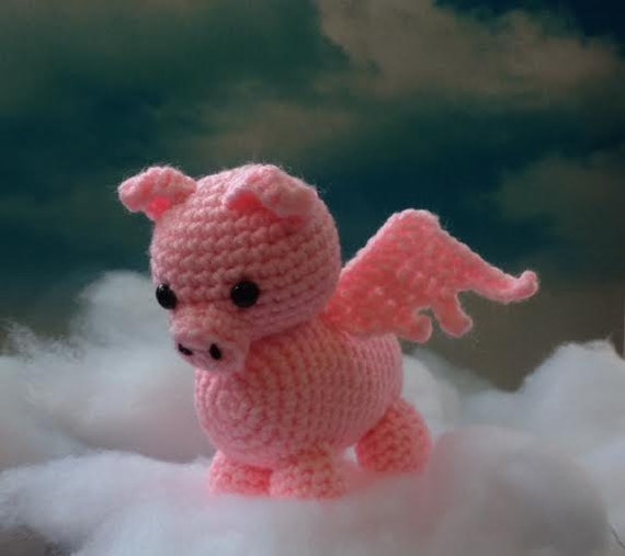 Cute Amigurumi Pigs : Flying Pig Made to Order pig amigurumi When Pigs Fly