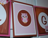 BABY OWL Banner - It's A Girl Pink and brown