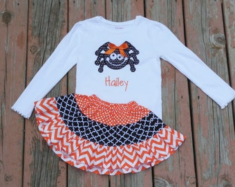 Girl's Toddlers Skirt and Shirt Outfit -  Tiered Halloween Skirt with Cute Spider Applique Shirt