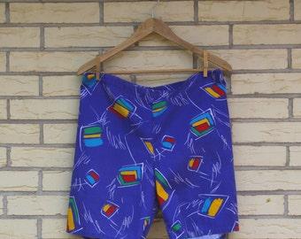 1980s Le Tigre Shorts Drawstring Jams Style Graphic Print Surfer Blue Womens Mens Vintage Small