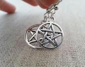 Pentagram Pentacle Earrings. Simple Silver  Pentagram Earrings. Wicca Pagan Silver Earrings. New Age Jewelry