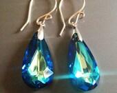 Your choice. Swarovski Crystal Earrings. Bermuda Blue, Crystal AB, Vitrail Medium and Vitrail Light Faceted Teardrop