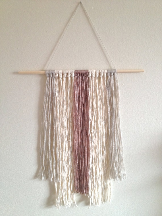 Modern Wall Fiber Art Neutral Tassels Wall Hanging