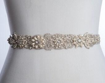LOANE Bridal belt, wedding dress sash, wedding sash, wedding beaded belt, rhinestone sash, bridal beaded sash with pearls - Style W-SB046