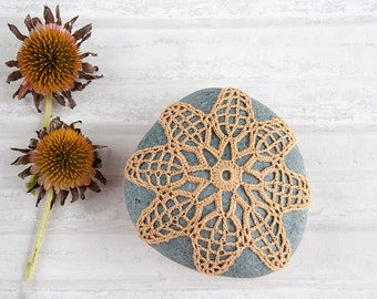 crochet stone, crochet rock, beach wedding, ring bearer pillow, fiber art object, autumn gold, tabletop decor, home decor, mothers day
