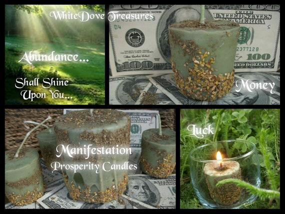 MONEY MANIFESTATION CANDLE - Potent Prosperity Magnet Luck Abundance Altar Ritual EssentialOils Gemstone Infused Loaded OrganicHerbs