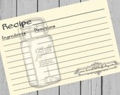 Mason Jar Recipe Cards 4x6 Printable Recipe Card 3x5 Digital 3 Sizes