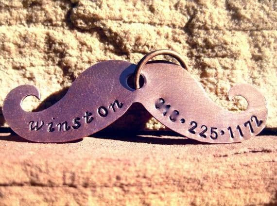 The Winston (#100) - Copper Mustache Handstamped Pet ID Tag Unique Dog