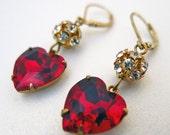 Red Earrings Vintage Earrings Swarovski Crystal Earrings Ruby Earrings Swarovski Crystal Heart Earrings Valentines Day