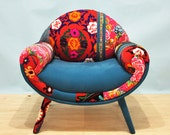 Smiley Patchwork Armchair - turquoise love