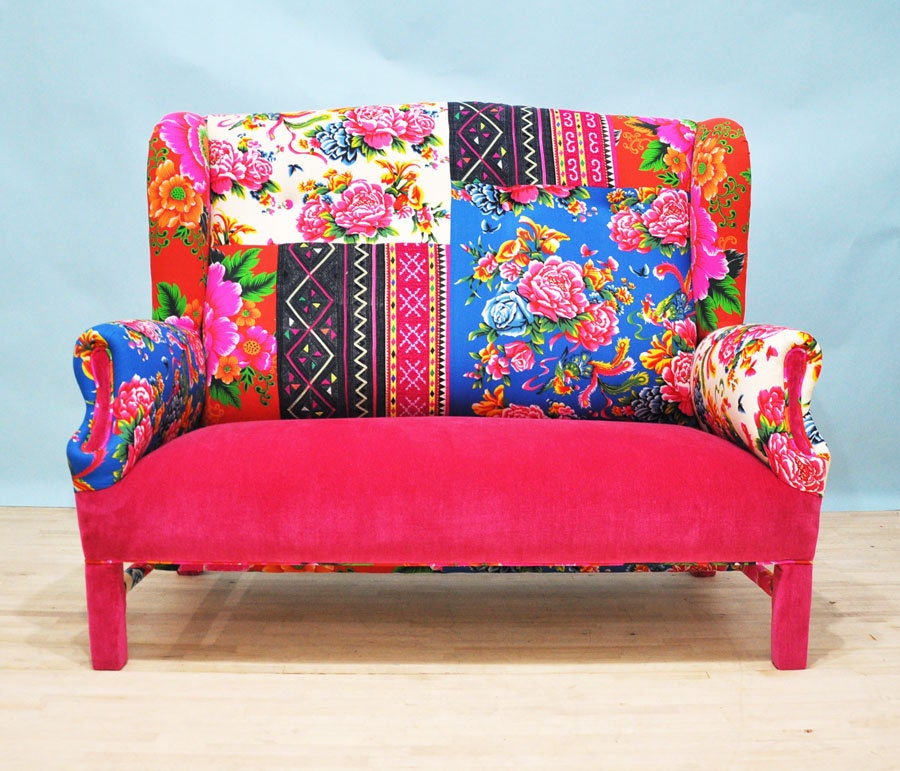 pink fever wing patchwork sofa. Black Bedroom Furniture Sets. Home Design Ideas