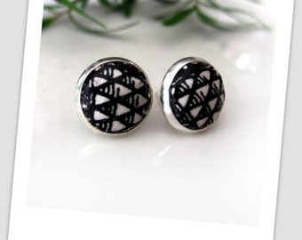 Black Pyramid, Paper Studs Earrings