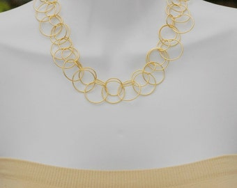 Bib Necklace, Gold Hoop Necklace, Short Necklace, Gift for her, Link Chain Necklace, Layered necklace, Holiday Gift