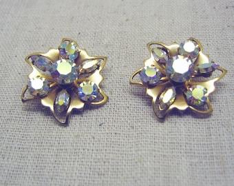 Vintage 1960s Aurora Borealis Rhinestone Clip  Earrings