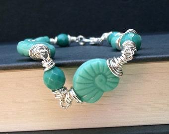 Nautilus Shell Bracelet:  Seafoam Mint Green Beaded Anklet, Fine Silver Wire Wrapped Autumn Beach Jewelry