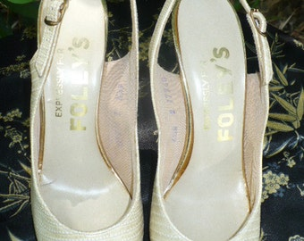 60s Viva Las Vegas Foleys sling back high heels sz 6 and half narrow by KitKatCabaret on etsy