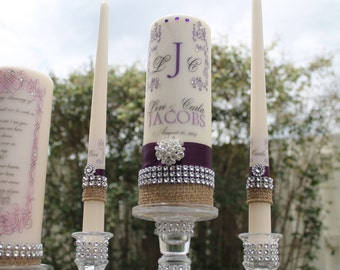 Burlap Unity and Memorial Candle set......holders included