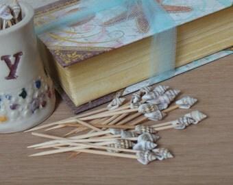 Seashell Toothpicks, Beach Party Appetizer Picks, 100