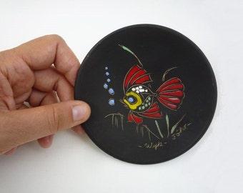 Mid Century Small Fish Wall Plate Matte Black Ceramic