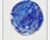Carved Glass Rose Flower Pendants - Mottled Cobalt (Small)