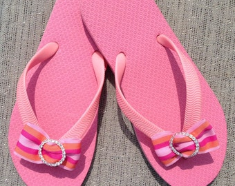 Bubble Gum Pink  Flip Flops w/Multiple Colored Pink Striped Bow with  Rhinestone Slider