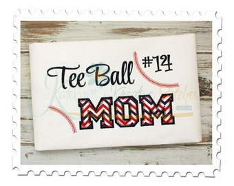Tee Ball MOM 4 - Applique and Filled