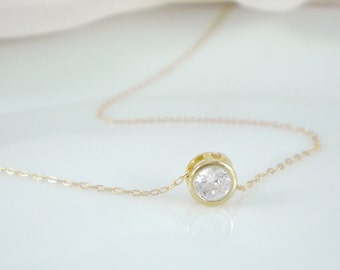 Cubic zirconia Solitaire necklace - available in sterling silver or gold filled