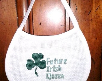 Completed Counted Cross Stitch Baby Bib - Future Irish Queen Lucky Shamrock Baby Bib