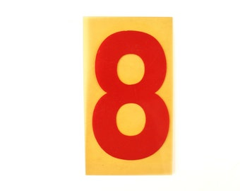 "Vintage Industrial Marquee Sign Number ""8"", Red on Yellow Flexible Plastic (7 inches tall) - Industrial Decor, Art Assemblage Supply"