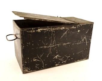 Vintage Metal Safe Deposit Box in Black (c.1940s) - Industrial Storage Box, Craft Organizer