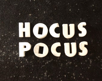 "Vintage White Ceramic Push Pins ""HOCUS POCUS"" (c.1940s) - Halloween Bulletin Board Decor, Altered Art Supply, and more"