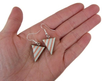 SALE Blue and Red Striped Bunting earrings. 50% OFF!